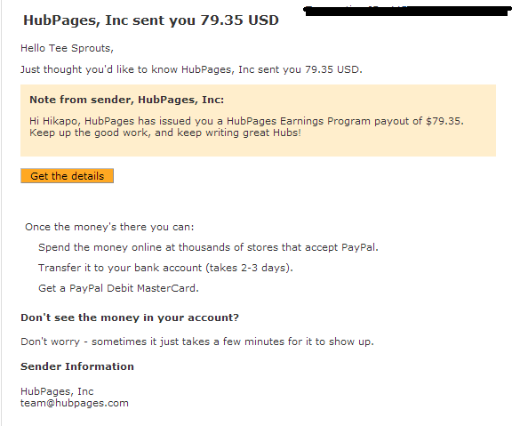 Hubpages Payment Proof