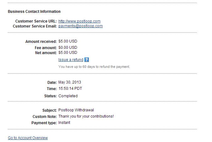 PostLoop Payment 1 May 30 2013
