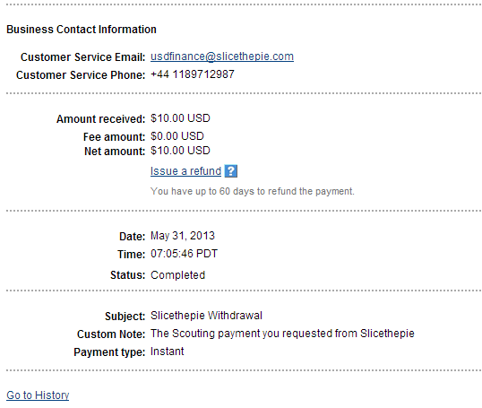 SliceThePie Payment Proof May 31 2013