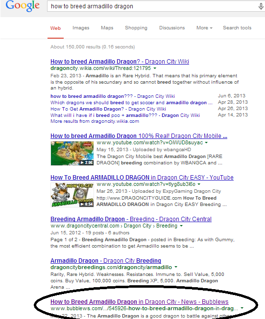 Bubblews SERP Example