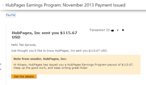 Hubpages Earnings November 2013
