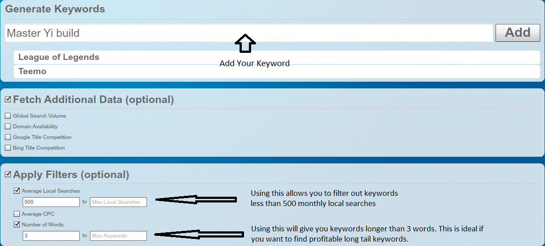 Longtail Pro Generating Keywords
