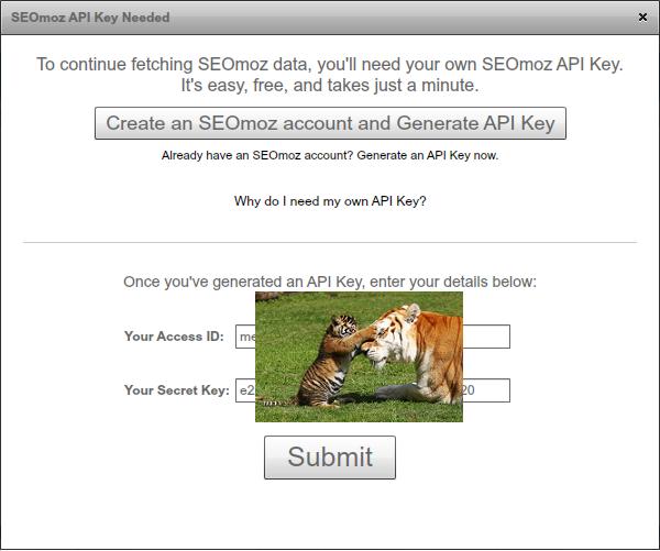 SEO Moz API Key Needed