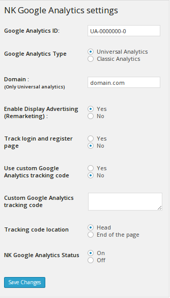 NK Google Analytics Settings