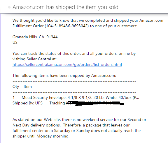 Amazon FBA Item Sold