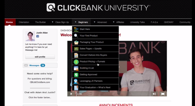 Clickbank University Dashboard