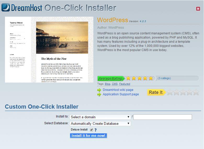 Dreamhost One Click Install WordPress