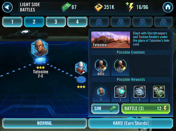 SW Galaxy of Heroes Character Shard Farming
