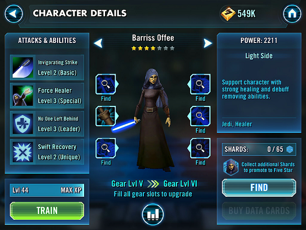 SWGOH Barriss Offee Review