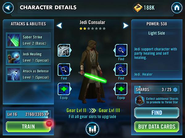 Star Wars Gear and Skill Screen