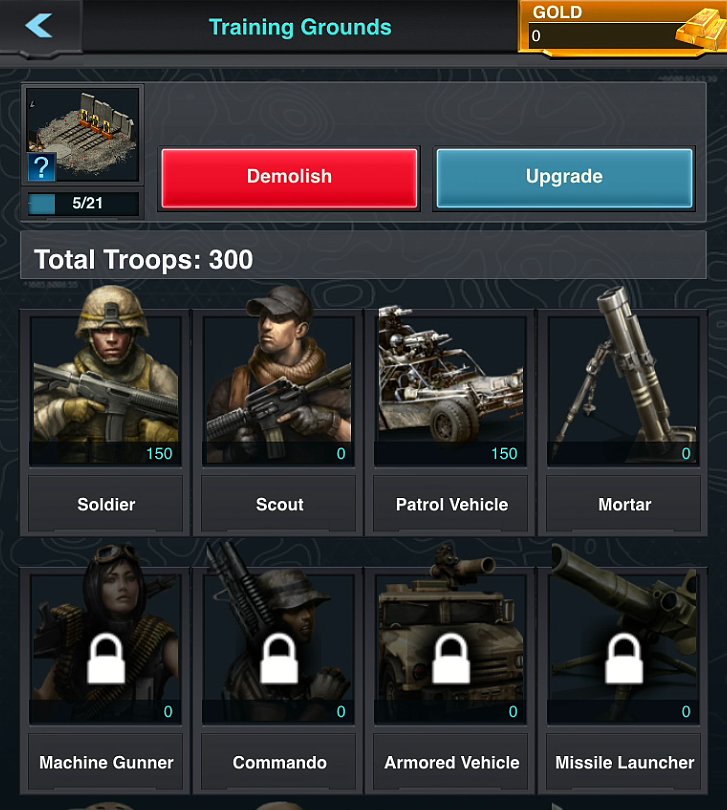 Mobile Strike Troops Menu