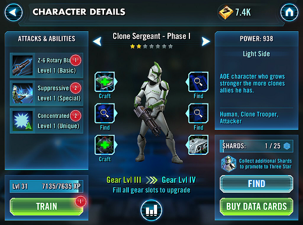 SWGOH Clone Sergeant Phase I Review