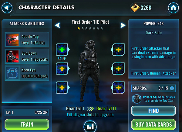 SWGOH First Order TIE Pilot Review