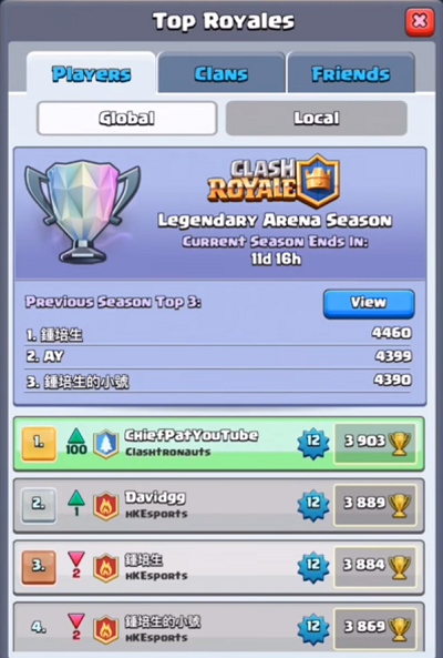 Clash Royale World Rank 1 Player Chief Pat