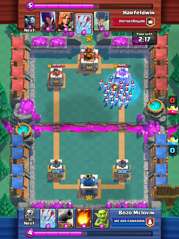Hog Rider + Freeze Deck Skeletons
