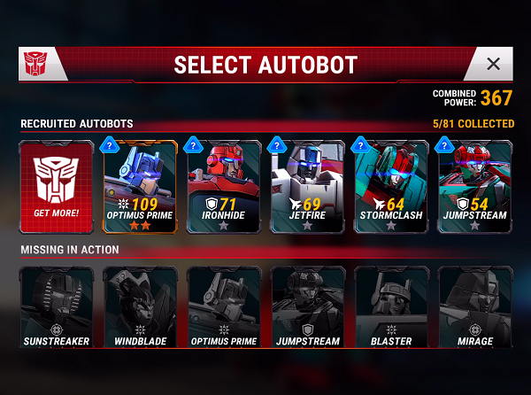 Transformers Earth Wars Autobots